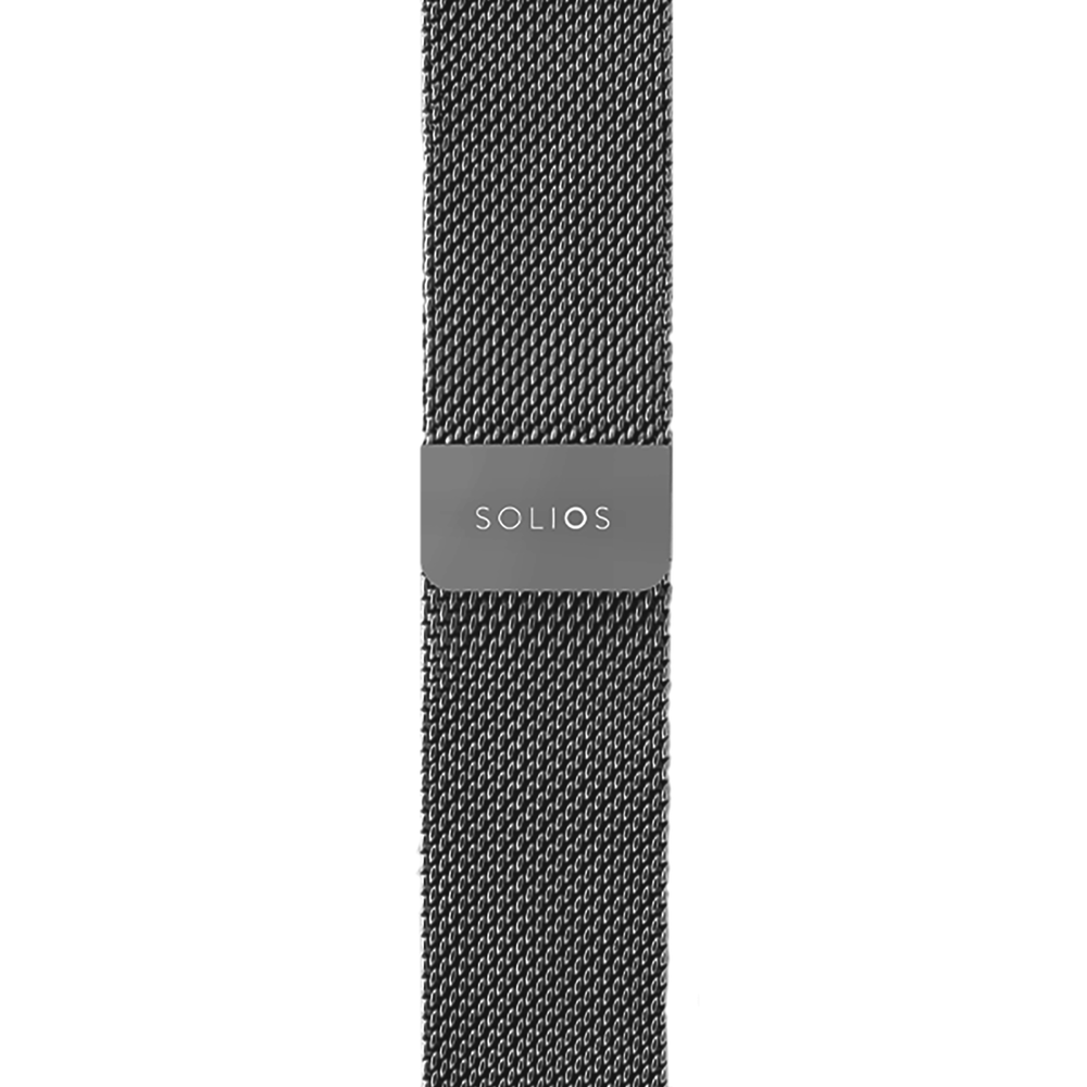 Solios store band Dark Grey Mesh Metal