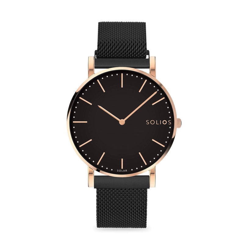 Solios Eclipse, sustainable and solar watch with a black dial and a rose gold stainless steel case, made by a Canadian company, with a black stainless steel mesh eco leather strap with magnetic clasp