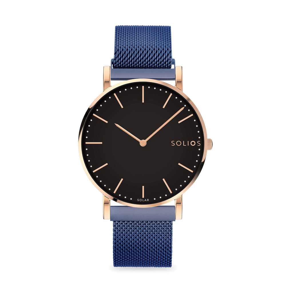 Solios Eclipse, sustainable and solar watch with a black dial and a rose gold stainless steel case, made by a Canadian company, with a blue stainless steel mesh eco leather strap with magnetic clasp