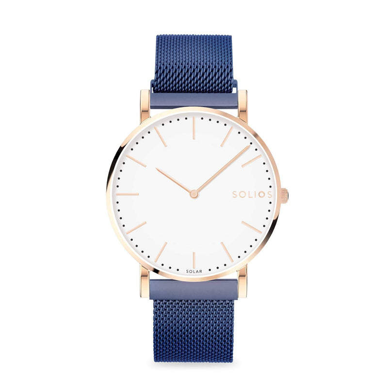 Solios Gamma, sustainable and solar watch with a white dial and a rose gold stainless steel case, made by a Canadian company, with a blue stainless steel mesh eco leather strap with magnetic clasp