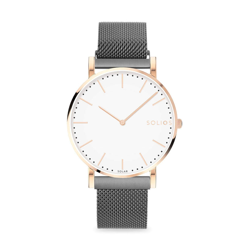 Solios Gamma, sustainable and solar watch with a white dial and a rose gold stainless steel case, made by a Canadian company, with a grey stainless steel mesh eco leather strap with magnetic clasp