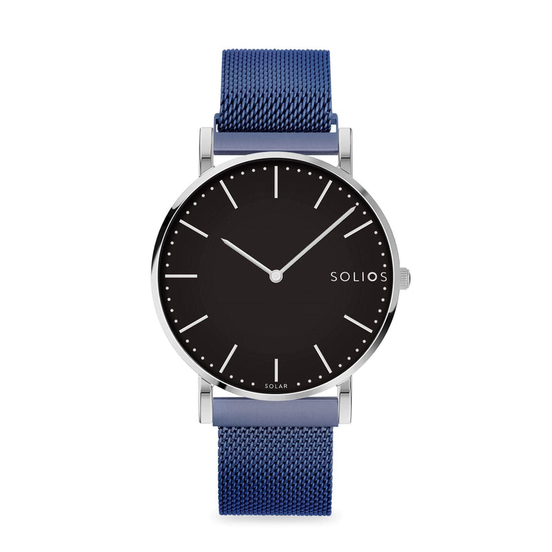 Solios Lux, sustainable and solar watch with a black dial and a silver stainless steel case, made by a Canadian company, with a blue stainless steel mesh eco leather strap with magnetic clasp