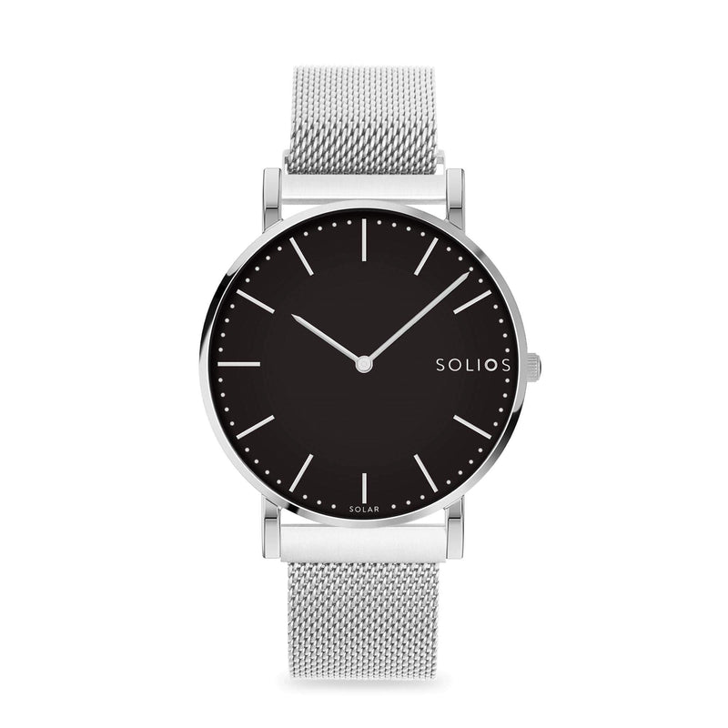 Solios Lux, sustainable and solar watch with a black dial and a silver stainless steel case, made by a Canadian company, with a silver stainless steel mesh eco leather strap with magnetic clasp