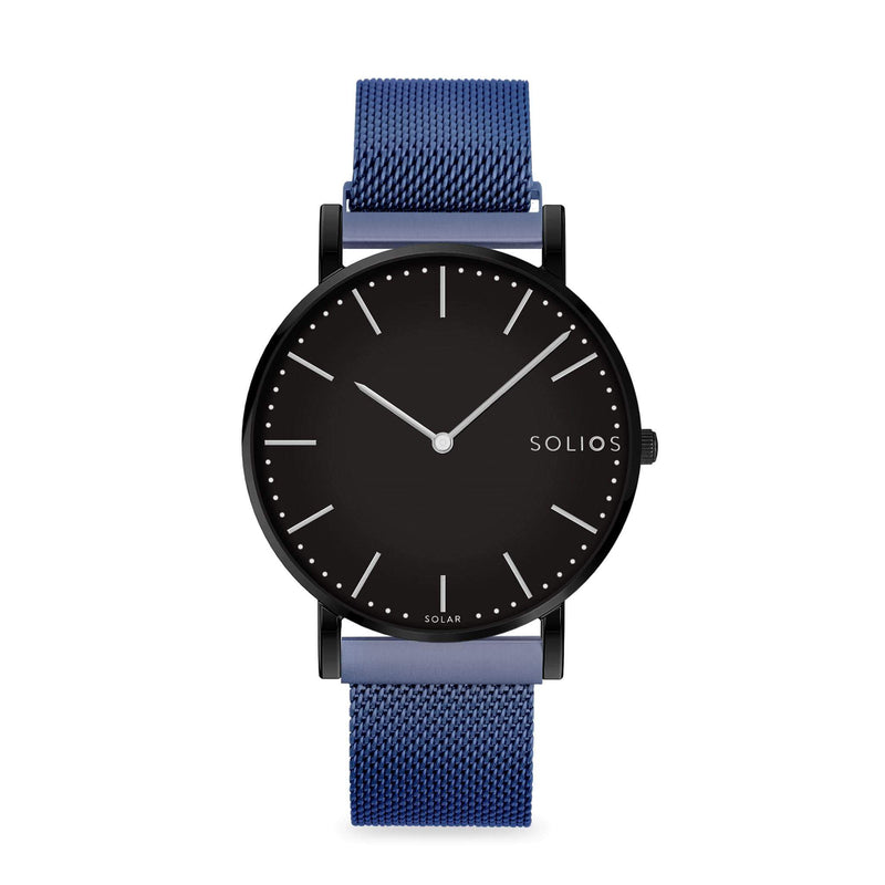 Solios Nebula, sustainable and solar watch with a black dial and a black stainless steel case, made by a Canadian company, with a blue stainless steel mesh eco leather strap with magnetic clasp