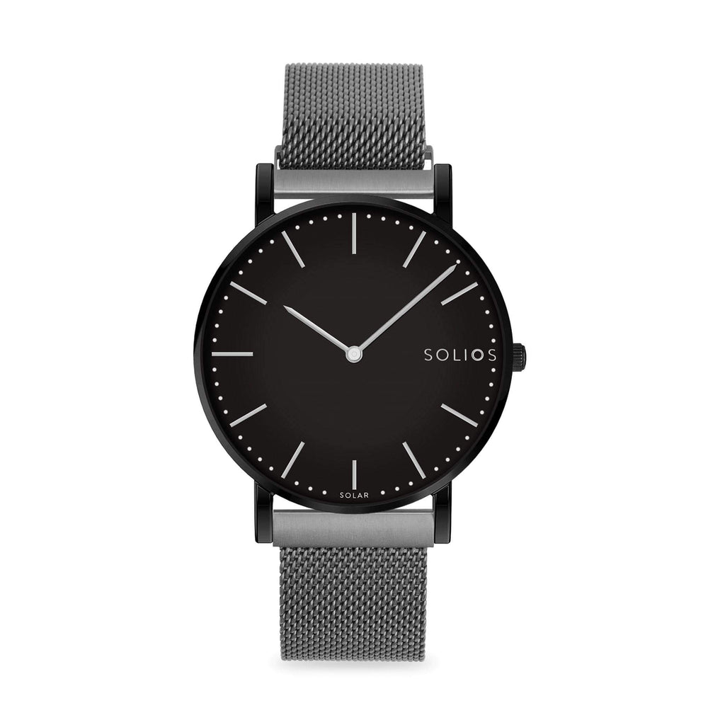 Solios Nebula, sustainable and solar watch with a black dial and a black stainless steel case, made by a Canadian company, with a grey stainless steel mesh eco leather strap with magnetic clasp