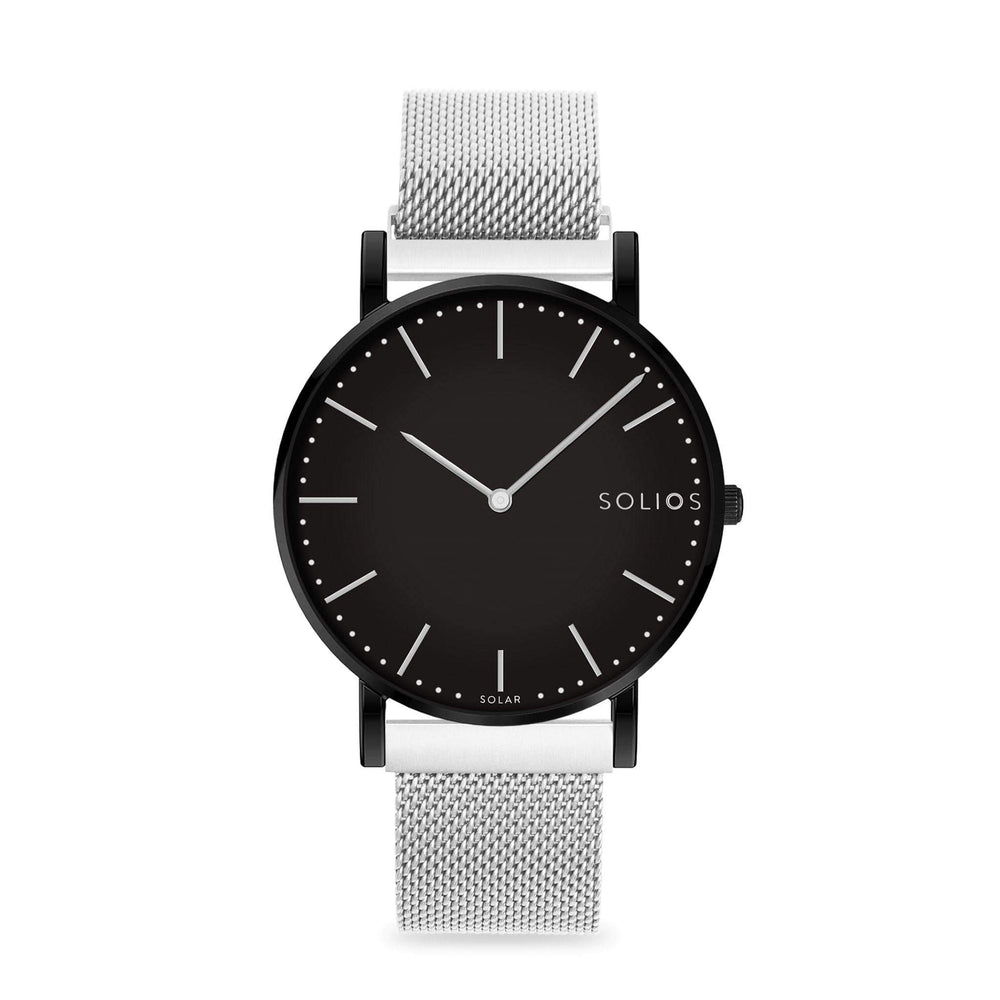Solios Nebula, sustainable and solar watch with a black dial and a black stainless steel case, made by a Canadian company, with a silver stainless steel mesh eco leather strap with magnetic clasp