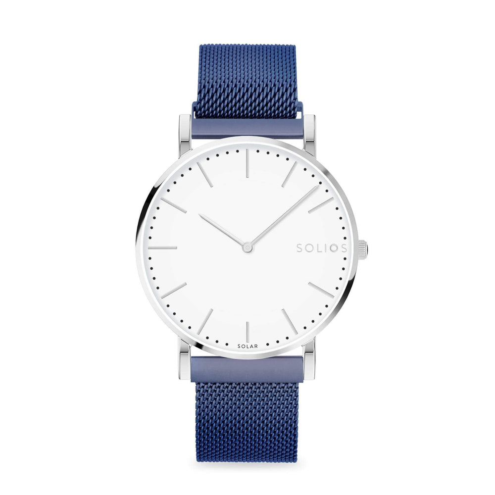 Solios Nova, sustainable and solar watch with a white dial and a silver stainless steel case, made by a Canadian company, with a blue stainless steel mesh eco leather strap with magnetic clasp
