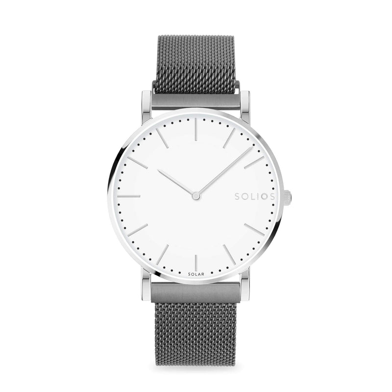 Solios Nova, sustainable and solar watch with a white dial and a silver stainless steel case, made by a Canadian company, with a grey stainless steel mesh eco leather strap with magnetic clasp