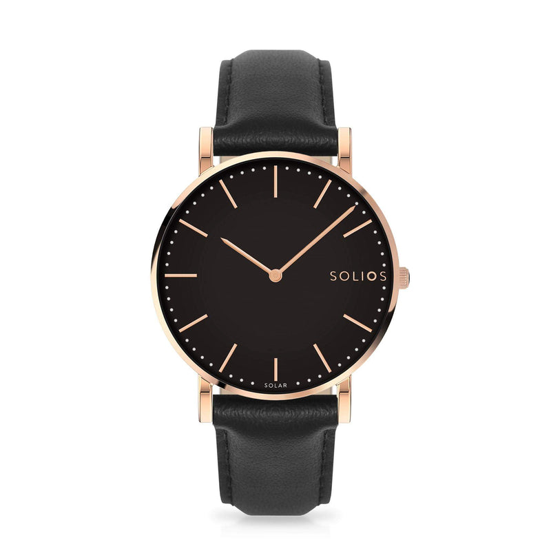 Solios Eclipse, sustainable and solar watch with a black dial and a rose gold stainless steel case, made by a Canadian company, with a black vegan eco leather strap