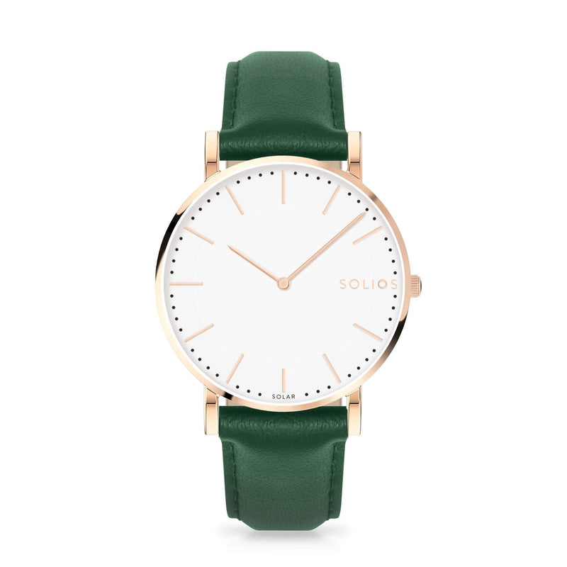 Solios Gamma, sustainable and solar watch with a white dial and a rose gold stainless steel case, made by a Canadian company, with a green vegan eco leather strap