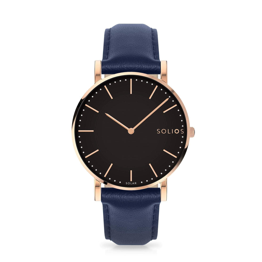 Solios Eclipse, sustainable and solar watch with a black dial and a rose gold stainless steel case, made by a Canadian company, with a blue vegan eco leather strap
