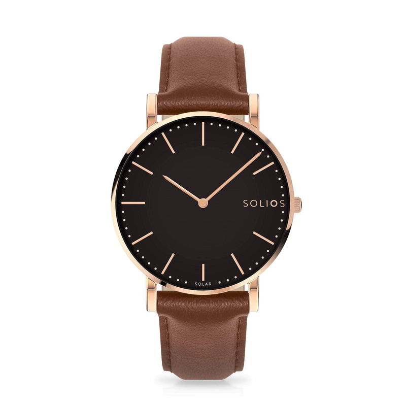 Solios Eclipse, sustainable and solar watch with a black dial and a rose gold stainless steel case, made by a Canadian company, with a brown vegan eco leather strap