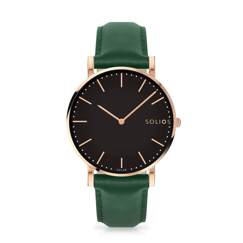 Solios Eclipse, sustainable and solar watch with a black dial and a rose gold stainless steel case, made by a Canadian company, with a green vegan eco leather strap