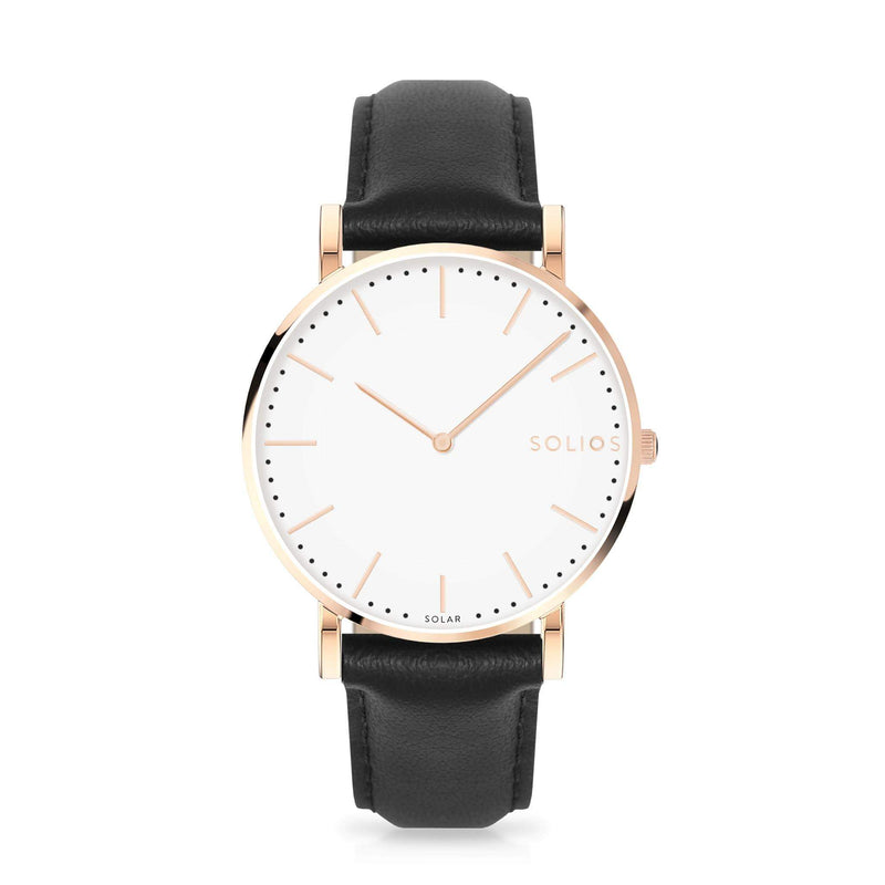 Solios Gamma, sustainable and solar watch with a white dial and a rose gold stainless steel case, made by a Canadian company, with a black vegan eco leather strap