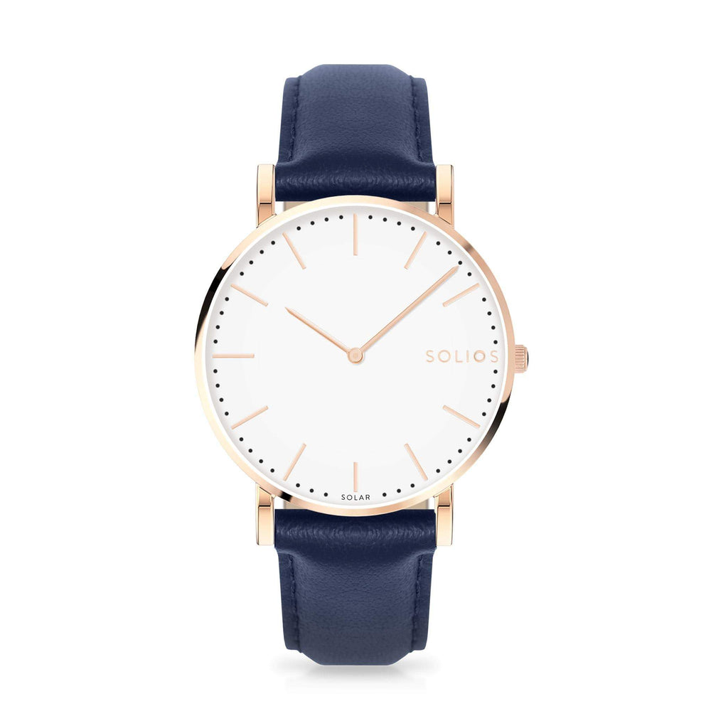 Solios Gamma, sustainable and solar watch with a white dial and a rose gold stainless steel case, made by a Canadian company, with a blue vegan eco leather strap