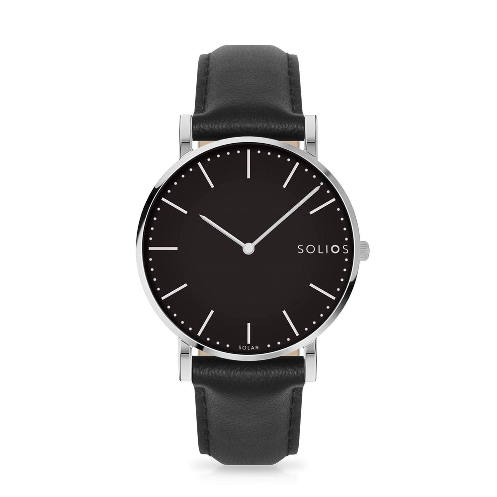 Solios Lux, sustainable and solar watch with a black dial and a silver stainless steel case, made by a Canadian company, with a black vegan eco leather strap
