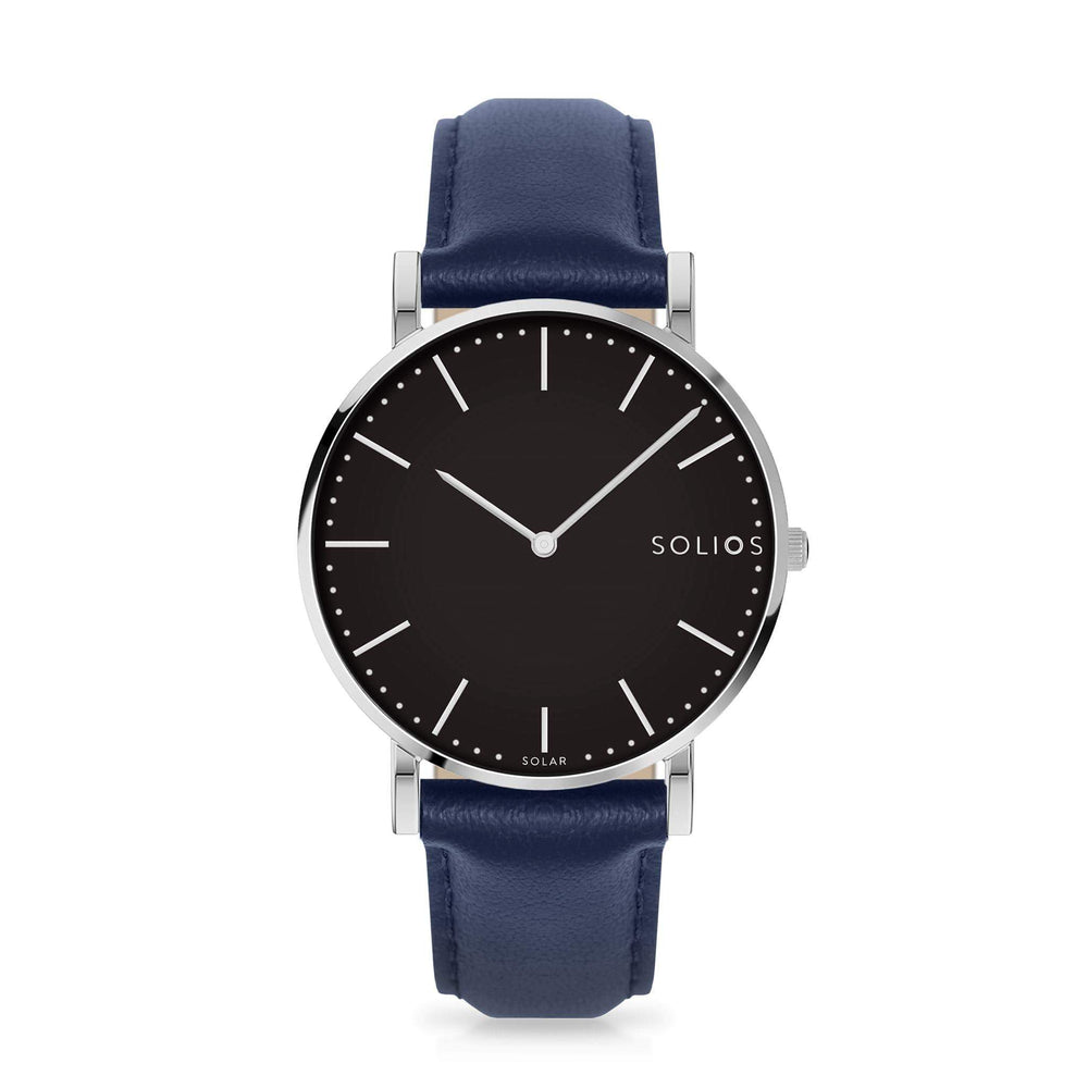 Solios Lux, sustainable and solar watch with a black dial and a silver stainless steel case, made by a Canadian company, with a blue vegan eco leather strap