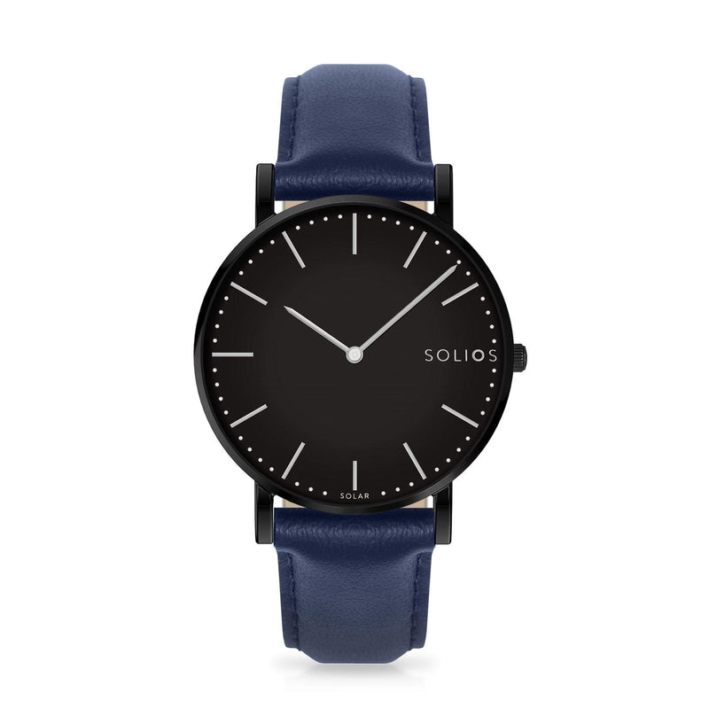 Solios Nebula, sustainable and solar watch with a black dial and a black stainless steel case, made by a Canadian company, with a blue vegan eco leather strap