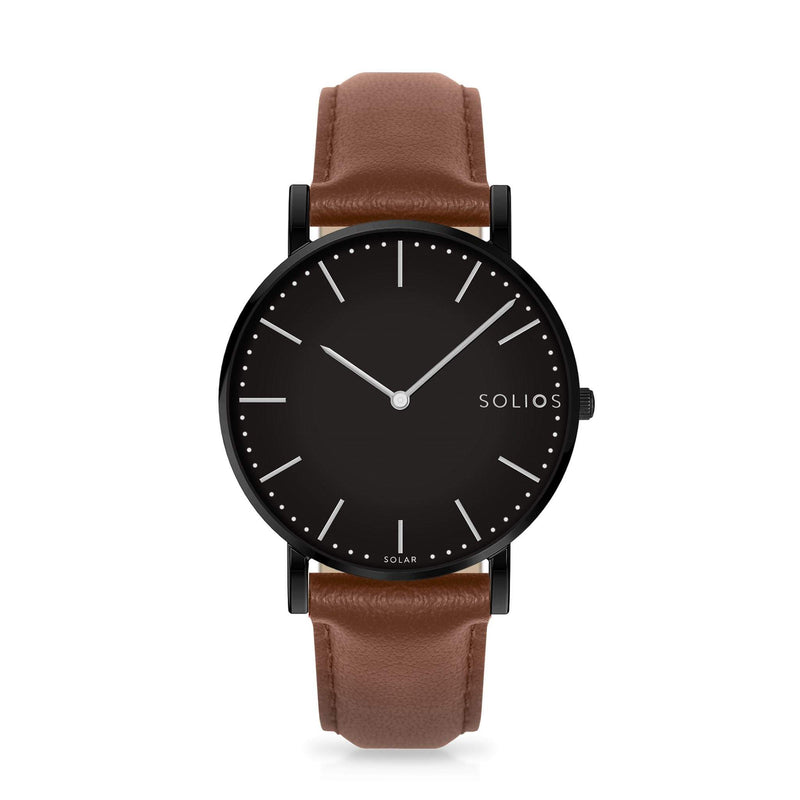 Solios Nebula, sustainable and solar watch with a black dial and a black stainless steel case, made by a Canadian company, with a brown vegan eco leather strap