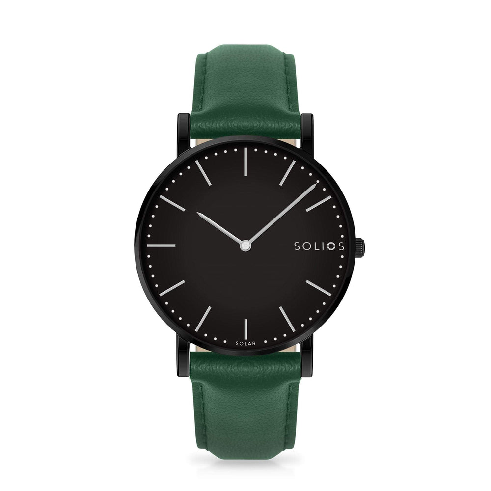 Solios Nebula, sustainable and solar watch with a black dial and a black stainless steel case, made by a Canadian company, with a green vegan eco leather strap