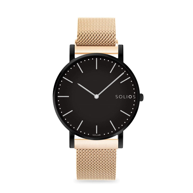Solios Nebula, sustainable and solar watch with a black dial and a black stainless steel case, made by a Canadian company, with a rose gold stainless steel mesh eco leather strap with magnetic clasp