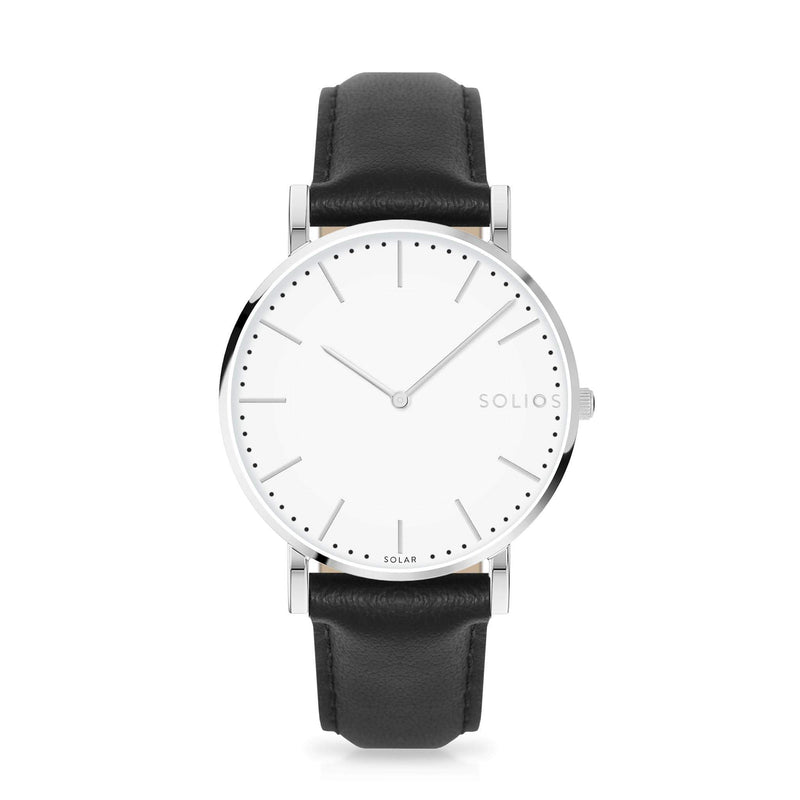 Solios Nova, sustainable and solar watch with a white dial and a silver stainless steel case, made by a Canadian company, with a black vegan eco leather strap