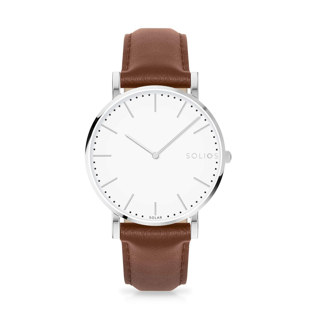 Solios Nova, sustainable and solar watch with a white dial and a silver stainless steel case, made by a Canadian company, with a brown vegan eco leather strap