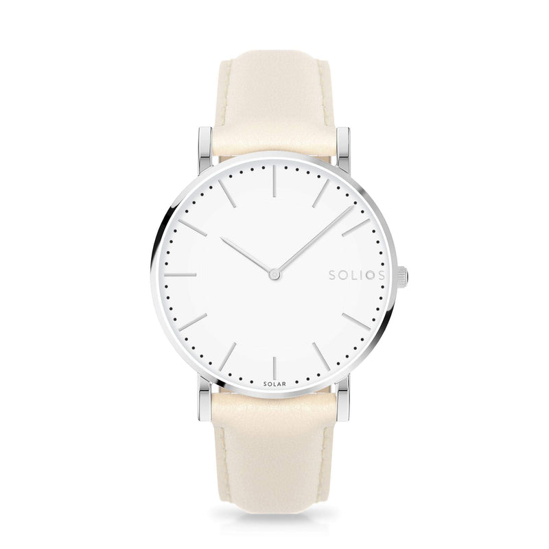 Solios Nova, sustainable and solar watch with a white dial and a silver stainless steel case, made by a Canadian company, with a cream vegan eco leather strap