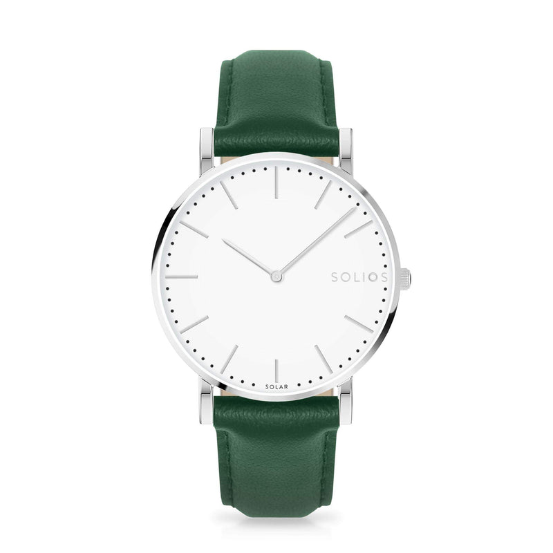 Solios Nova, sustainable and solar watch with a white dial and a silver stainless steel case, made by a Canadian company, with a green vegan eco leather strap