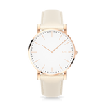Solios Gamma, sustainable and solar watch with a white dial and a rose gold stainless steel case, made by a Canadian company, with a cream vegan eco leather strap