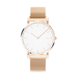Solios Gamma, sustainable and solar watch with a white dial and a rose gold stainless steel case, made by a Canadian company, with a rose gold stainless steel mesh eco leather strap with magnetic clasp