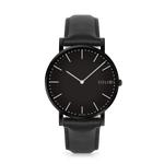 Solios Nebula, sustainable and solar watch with a black dial and a black stainless steel case, made by a Canadian company, with a black vegan eco leather strap