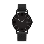 Solios Nebula, sustainable and solar watch with a black dial and a black stainless steel case, made by a Canadian company, with a black stainless steel mesh eco leather strap with magnetic clasp