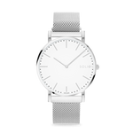 Solios Nova, sustainable and solar watch with a white dial and a silver stainless steel case, made by a Canadian company, with a silver stainless steel mesh eco leather strap with magnetic clasp.