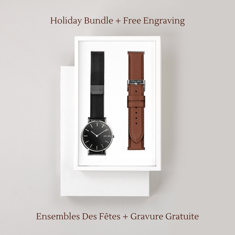 Solios Watches Lux Bundle | Black Mesh + Brown Eco