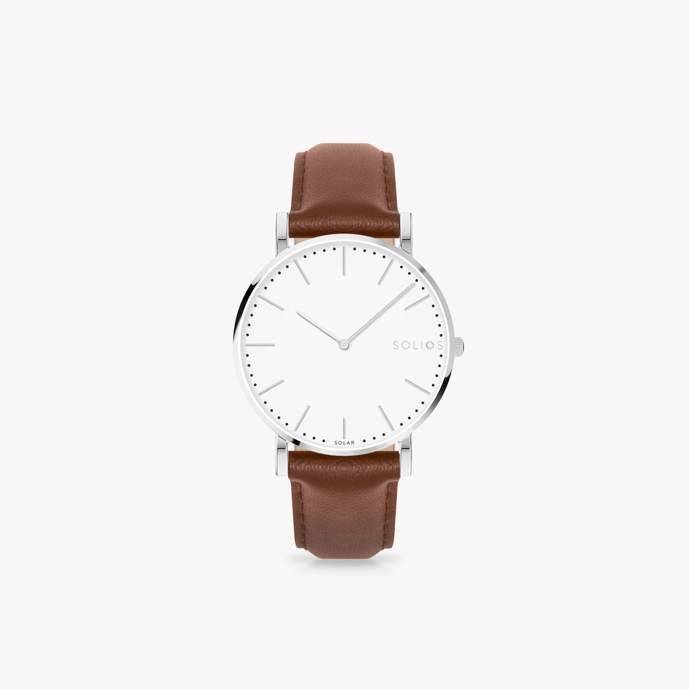 Solios Watches Nova Bundle | Silver Mesh + Brown Eco