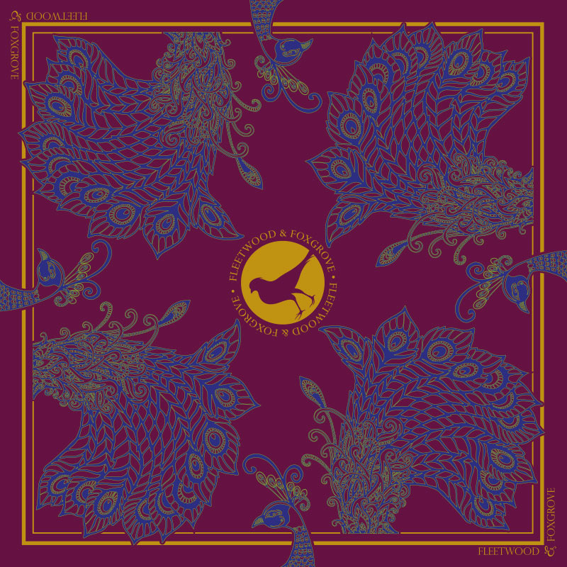 Plum Peacocks - 100% silk