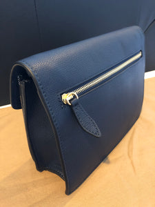 Authentic BURBERRY Small Leather and House Check Crossbody Bag 3997205-INK BLUE