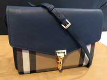 Load image into Gallery viewer, Authentic BURBERRY Small Leather and House Check Crossbody Bag 3997205-INK BLUE