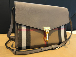 Authentic BURBERRY Small Leather and House Check Crossbody 4020304 - Thistle Grey