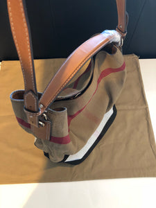 Authentic Burberry The Medium Ashby In Canvas Check And Leather, Saddle Brown, RRP  $1125