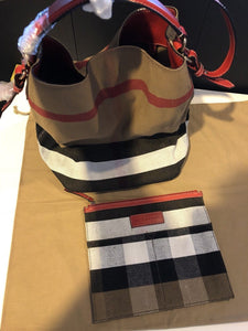 Authentic Burberry The Medium Ashby In Canvas Check And Leather, Cadmium Red RRP  $1125