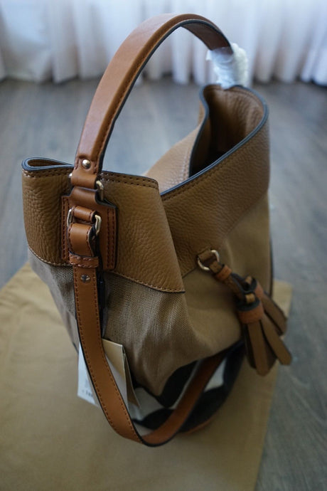 Authentic Burberry Medium Ashby in Canvas Check and Leather Hobo Saddle Brown 3982937