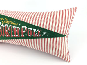 Christmas Pillow featuring Retro Santa Claus North Pole Pennant