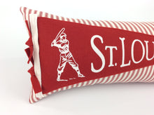 Load image into Gallery viewer, St. Louis Baseball Pennant Pillow red stripe