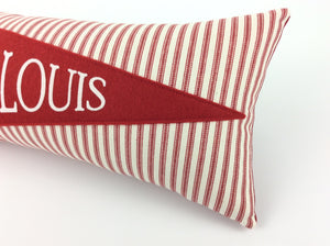 St. Louis Baseball Pennant Pillow red stripe