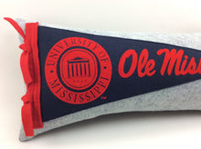 Load image into Gallery viewer, University of Mississippi Ole Miss Pennant Pillow