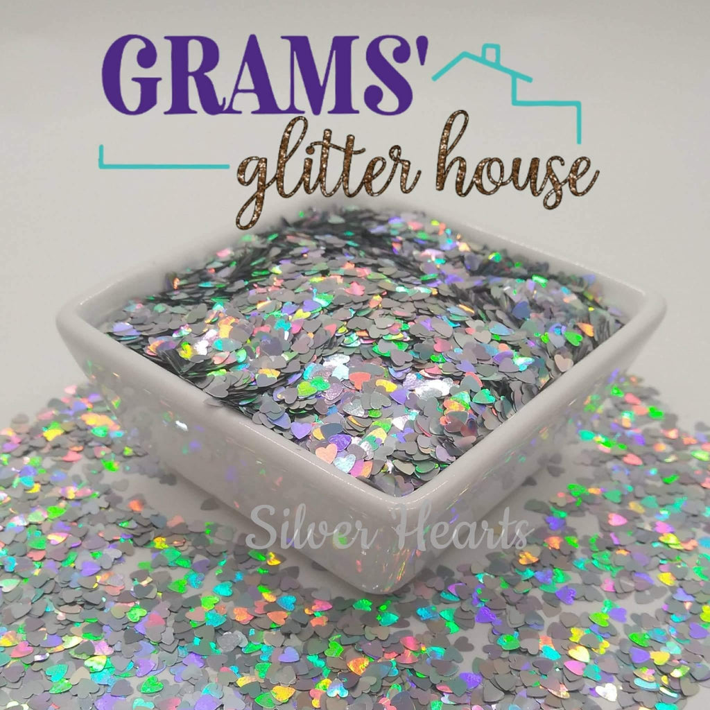 Silver Hearts - Grams' Glitter House