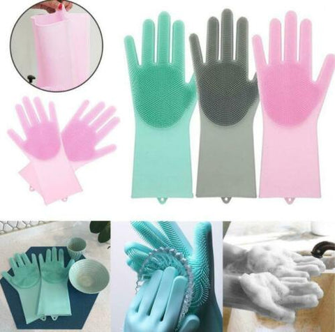 1 Pair UK Magic Silicone Rubber Dish Washing Gloves 2 in1 Cleaning Scrubbing UK