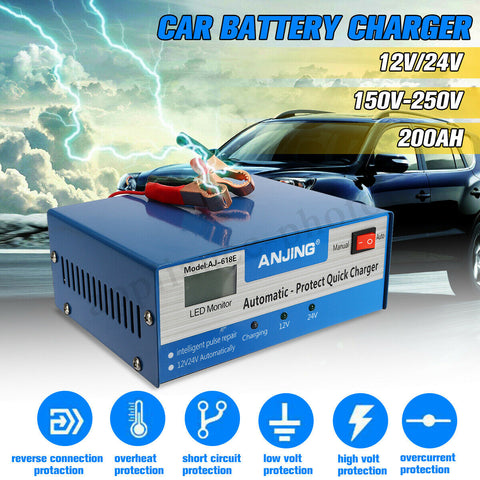 Car Battery Charger Automatic Intelligent 12V 24V Pulse Repair Lead Acid Starter